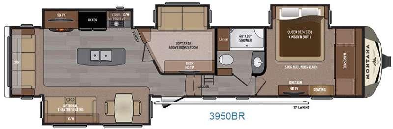 Montana 3950 BR Floorplan Image
