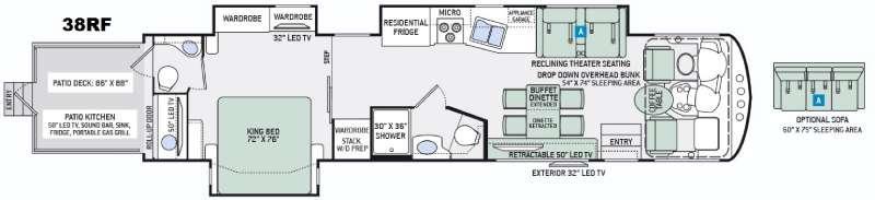 Floorplan - 2016 Thor Motor Coach Outlaw 38RF