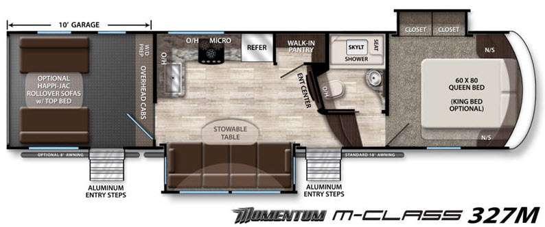 Floorplan - 2016 Grand Design Momentum M-Class 327M