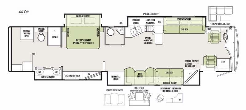Floorplan - 2016 Tiffin Motorhomes Phaeton 44 OH
