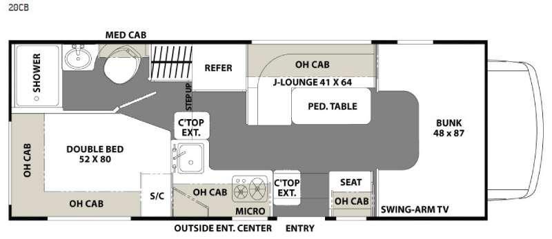 Floorplan - 2016 Coachmen RV Freelander 20CB  Ford Transit