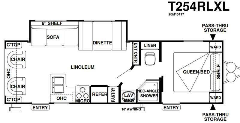 Wildwood X-Lite 254RLXL Floorplan Image