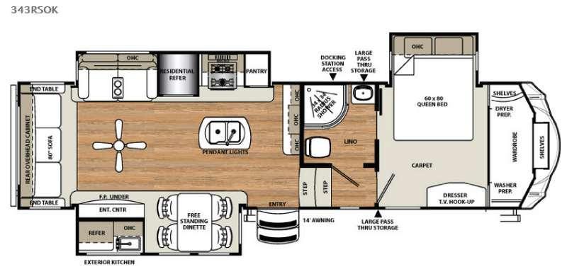 Floorplan - 2016 Forest River RV Sierra 343RSOK