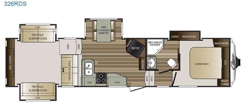 Floorplan - 2016 Keystone RV Cougar 326RDS