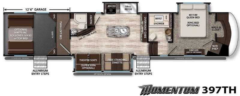 Floorplan - 2016 Grand Design Momentum 397TH