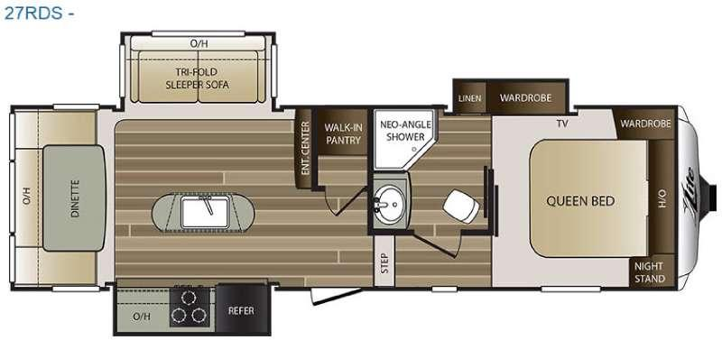 Floorplan - 2016 Keystone RV Cougar X-Lite 27RDS