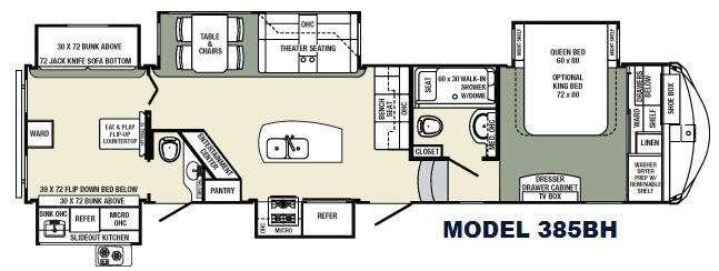 Floorplan - 2016 Palomino Columbus Compass F385BH