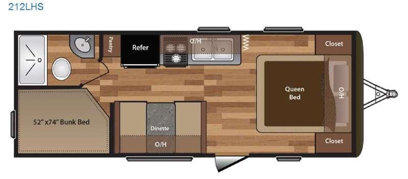 Floorplan - 2016 Keystone RV Hideout 212LHS