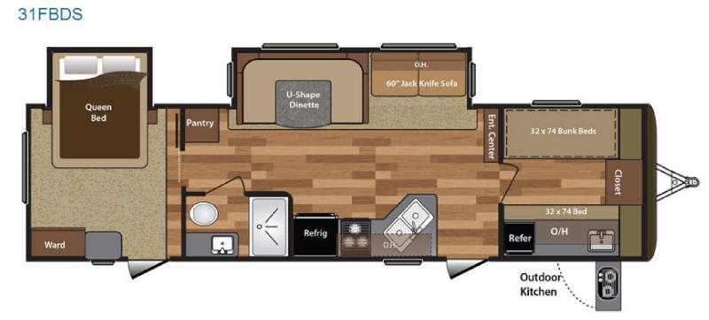Floorplan - 2016 Keystone RV Hideout 31FBDS