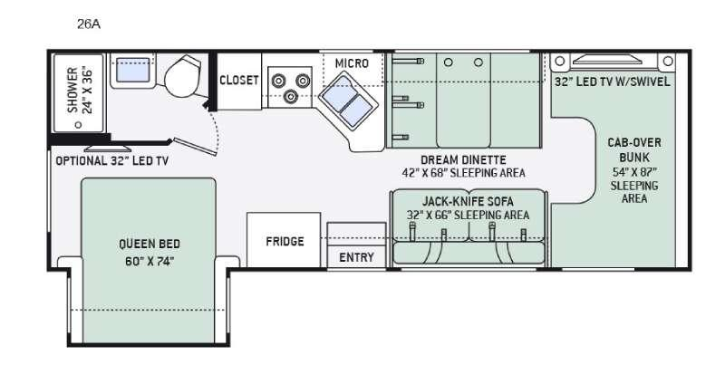 Four Winds 26A Chevy Floorplan Image