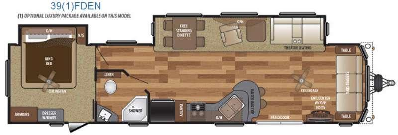 Floorplan - 2016 Keystone RV Retreat 391FDEN