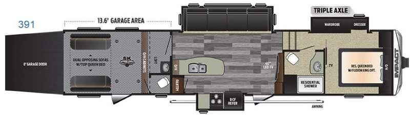 Floorplan - 2016 Keystone RV Impact 391