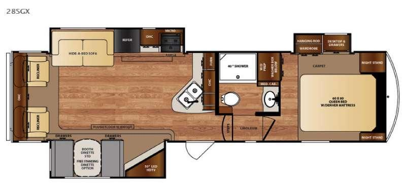 Floorplan - 2016 Forest River RV Wildcat 28SGX