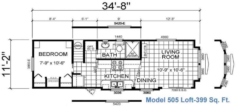 Floorplan - 2016 Athens Park Homes Athens Park Series 505 Loft