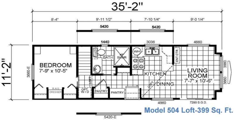 Floorplan - 2016 Athens Park Homes Athens Park Series 504 Loft
