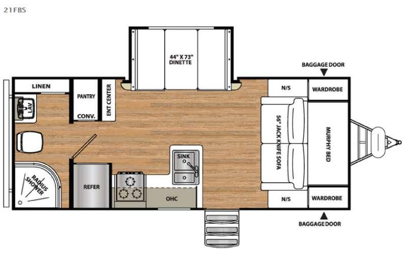 Floorplan - 2016 Forest River RV Vibe Extreme Lite 21FBS