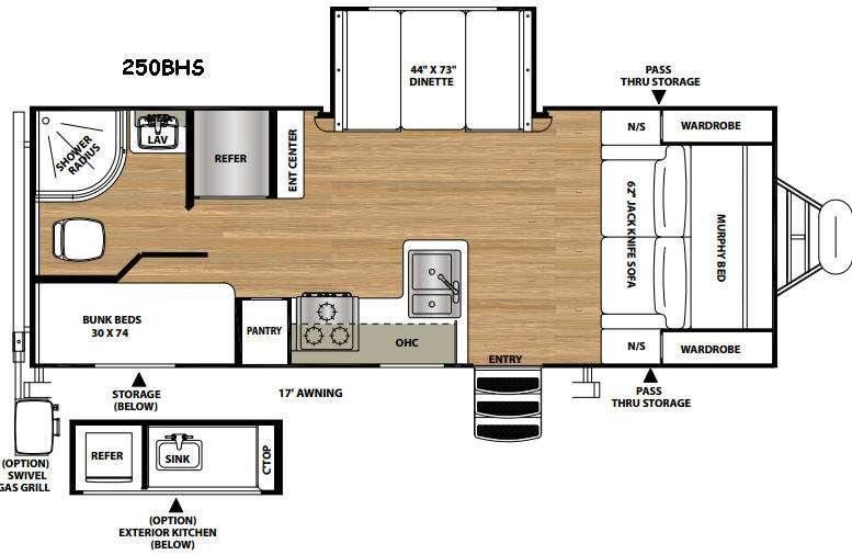 Vibe Extreme Lite 250BHS Floorplan