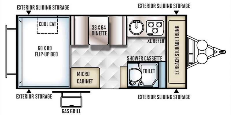 Floorplan - 2016 Forest River RV Flagstaff Hard Side High Wall Series 21DMHW