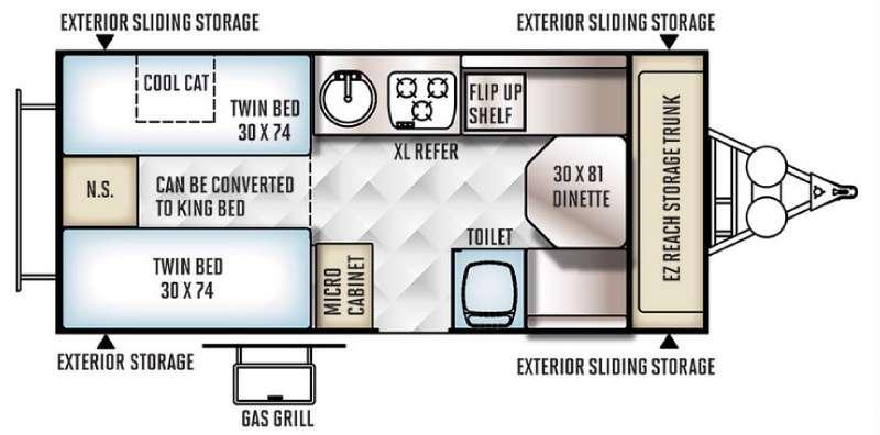 Floorplan - 2016 Forest River RV Flagstaff Hard Side High Wall Series 21TBHW