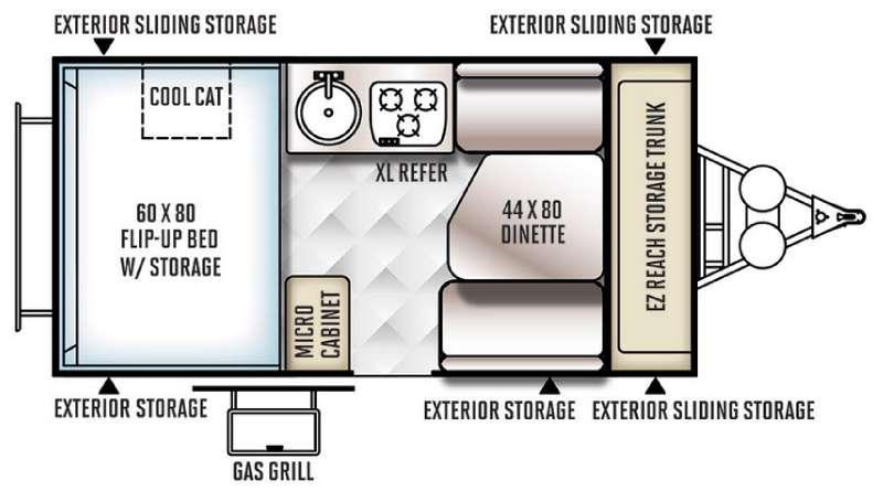 Floorplan - 2016 Forest River RV Rockwood Hard Side High Wall Series 192HW