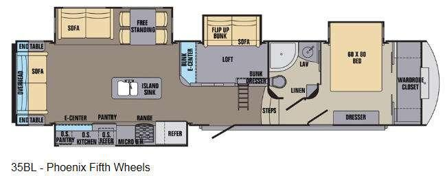 Floorplan - 2016 Shasta RVs Phoenix 35BL