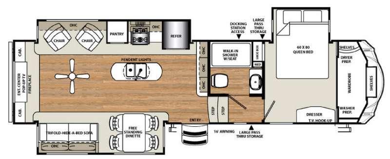 Floorplan - 2016 Forest River RV Sandpiper 354RET