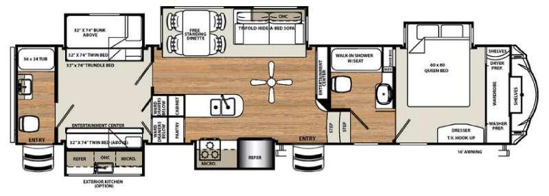 Floorplan - 2016 Forest River RV Sandpiper 381RBOK