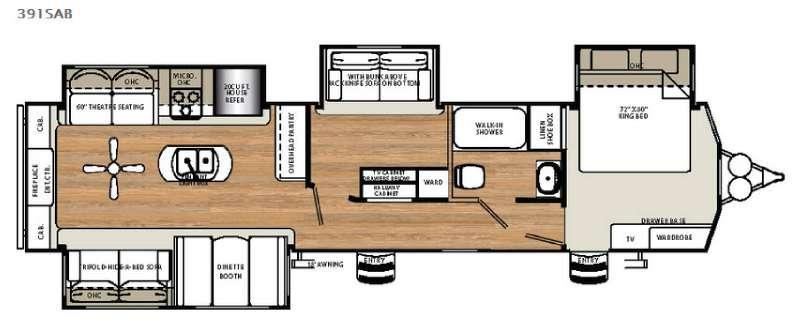 Floorplan - 2016 Forest River RV Sandpiper Destination Trailers 391SAB