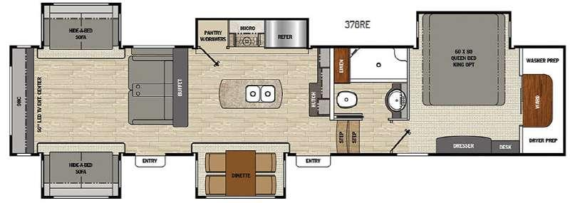 Floorplan - 2016 Coachmen RV Brookstone 378RE