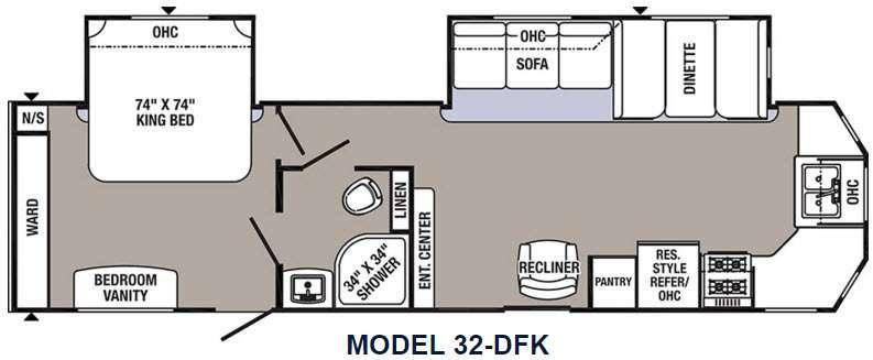 Floorplan - 2016 Palomino Puma Destination 32-DFK