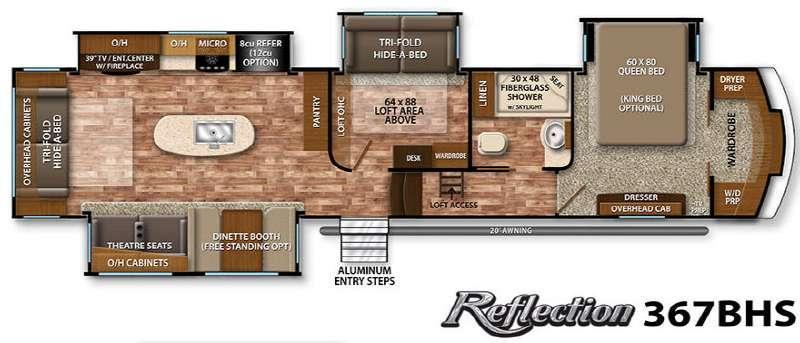 Floorplan - 2016 Grand Design Reflection 367BHS