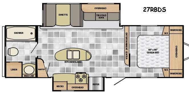 Floorplan - 2016 Winnebago Industries Towables Ultralite 27RBDS