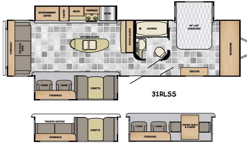 Floorplan - 2016 Winnebago Industries Towables Ultralite 31RLSS