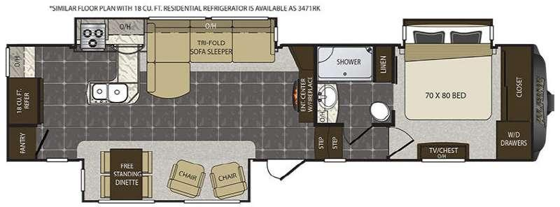 Alpine 3470RK Floorplan Image