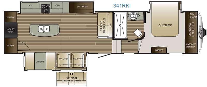 Floorplan - 2016 Keystone RV Cougar 341RKI