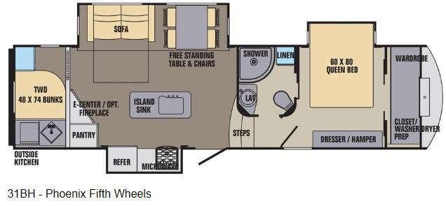 Floorplan - 2016 Shasta RVs Phoenix 31BH