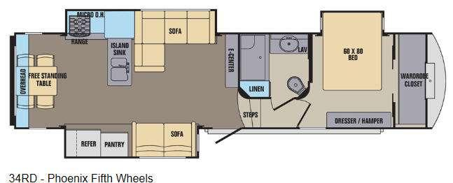 Floorplan - 2016 Shasta RVs Phoenix 34RD