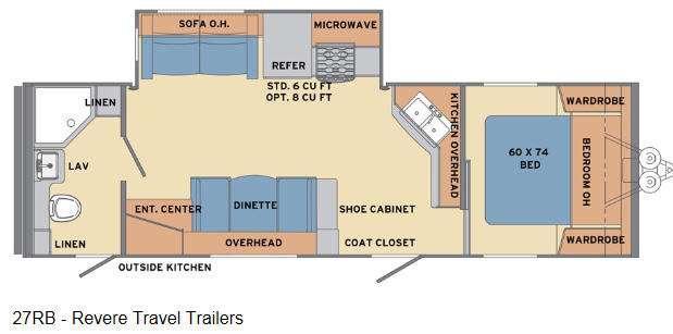 Floorplan - 2016 Shasta RVs Revere 27RB
