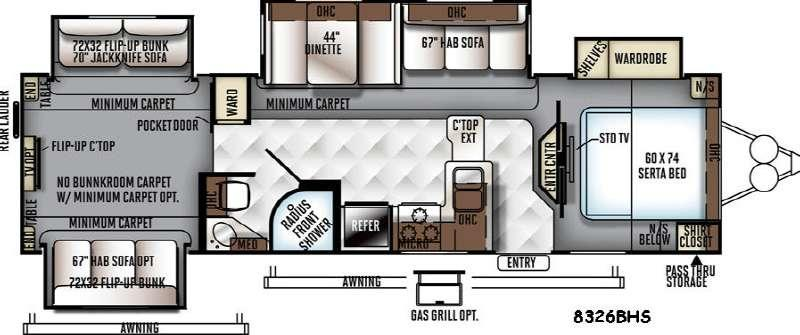 Floorplan - 2016 Forest River RV Rockwood Signature Ultra Lite 8326BHS