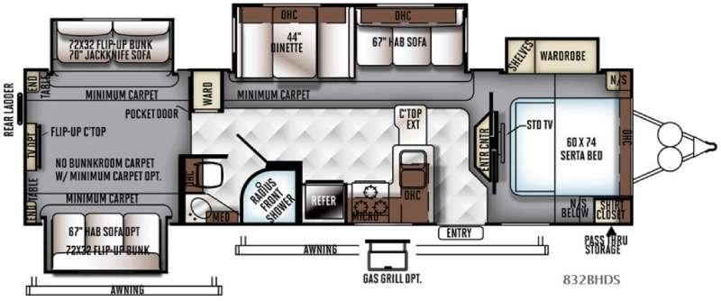 Floorplan - 2016 Forest River RV Flagstaff Classic Super Lite 832BHDS