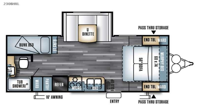 Floorplan - 2016 Forest River RV Salem Cruise Lite 230BHXL