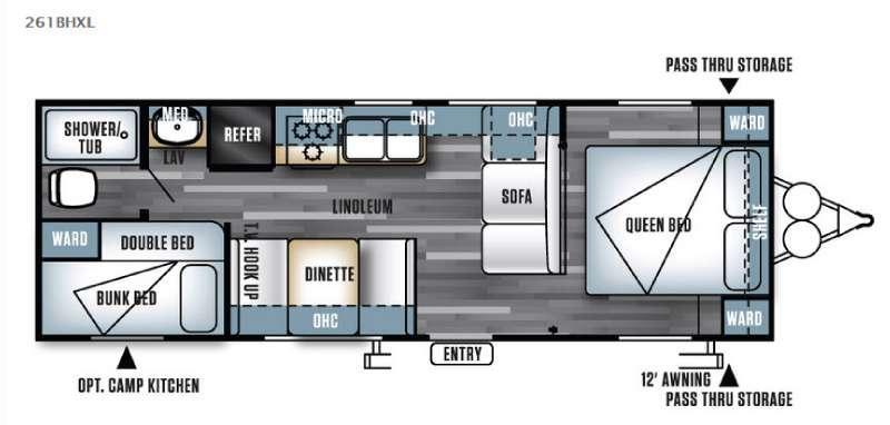 Floorplan - 2016 Forest River RV Salem Cruise Lite 261BHXL