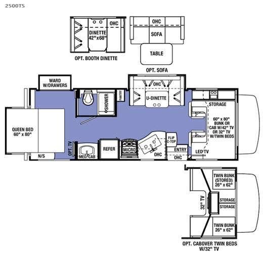 Sunseeker 2500TS Ford Floorplan Image