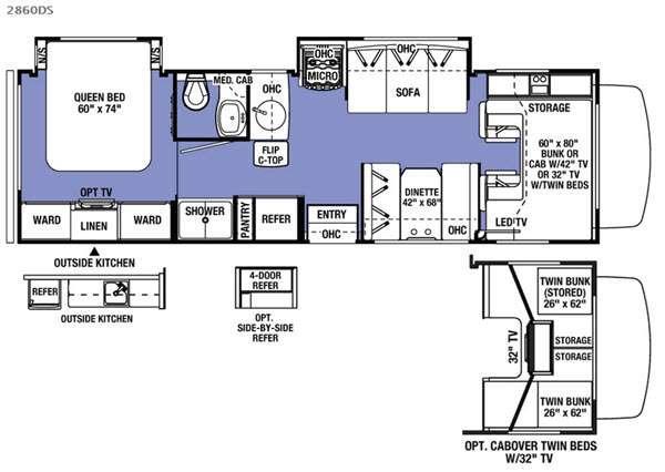 Sunseeker 2860DS Ford Floorplan Image