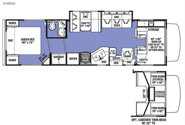 Sunseeker 3100SS Ford Floorplan Image