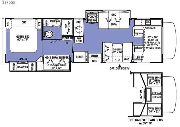 Sunseeker 3170DS Ford Floorplan Image