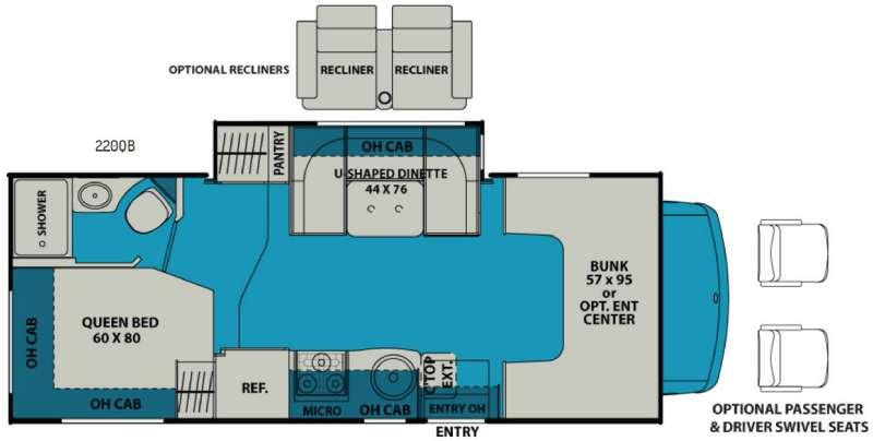 Floorplan - 2017 Leprechaun 220QB Ford 350 Motor Home Class C