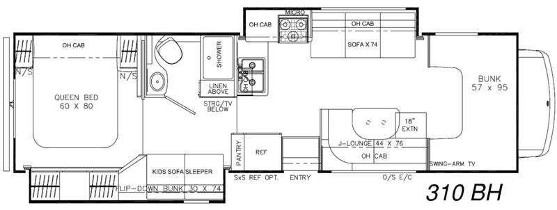 Leprechaun 310BH Chevy 4500 Floorplan Image