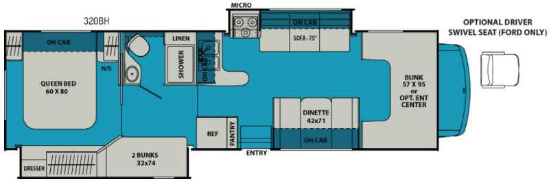 Leprechaun 320BH Ford 450 Floorplan Image