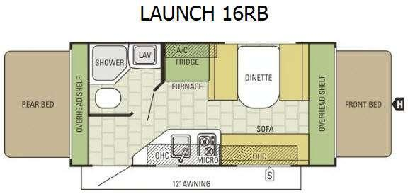 Floorplan - 2017 Starcraft Launch 16RB